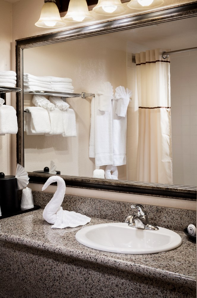 bathroom in executive suite at castle inn and suites